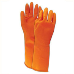 Rubber Hand Gloves Orange Colour