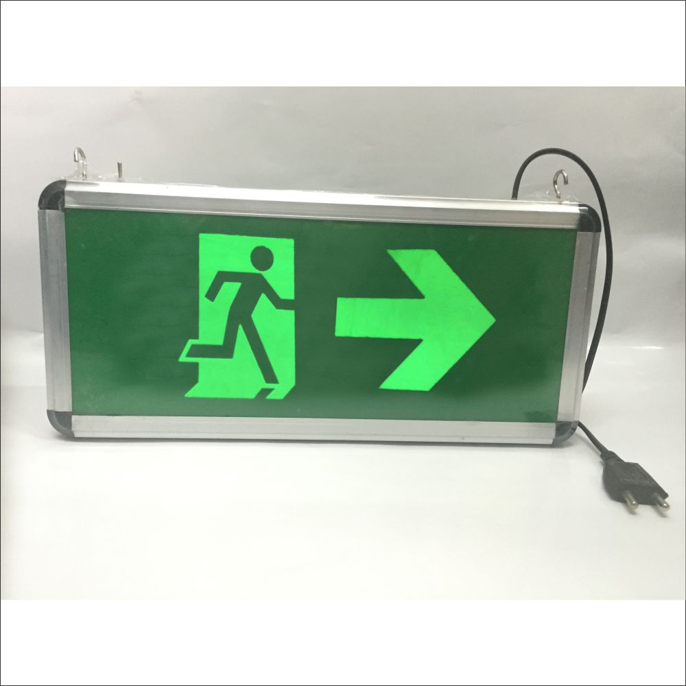Aluminium Framed Led Exit Sign With Man Running And Arrow Symbol