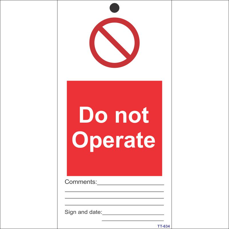 Do not operate Tag (Pack of 12 Nos)