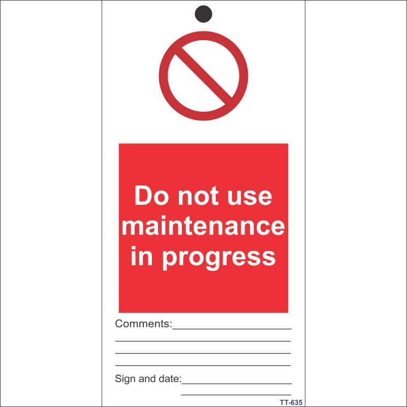 Do not use, Maintenance in progress Tag (Pack of 12 Nos)