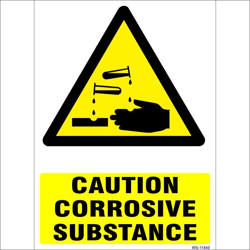 Caution Corrosive Substance Sign