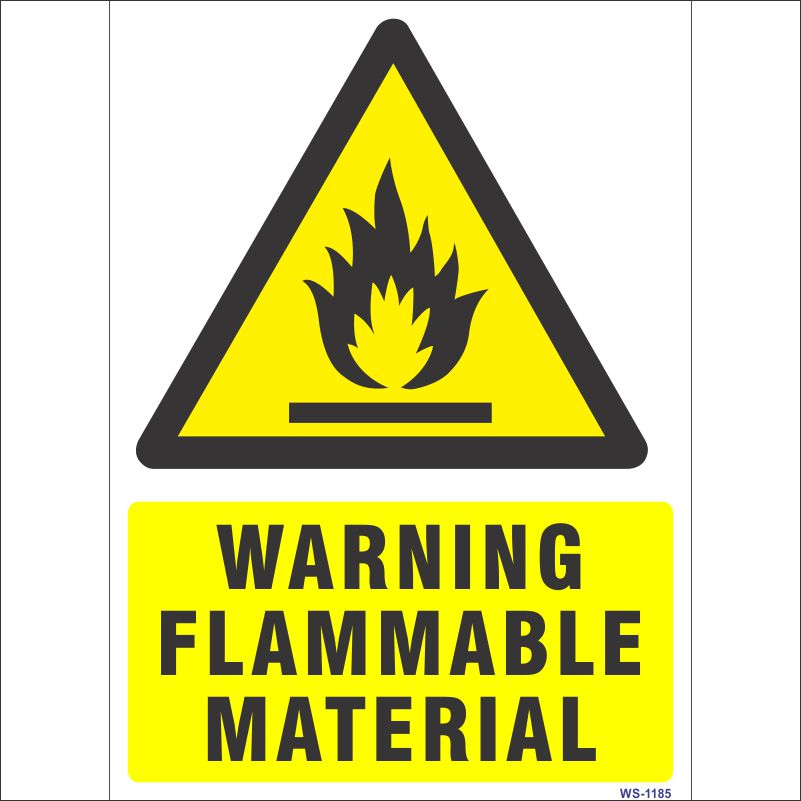Warning Flammable Material Sign